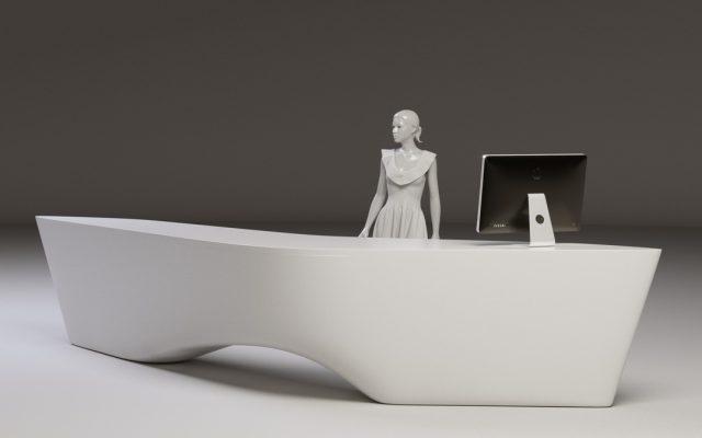 Gforma pateiktas Green Hall 2 recepcijos 3D vizualinis sprendimas užsakovui